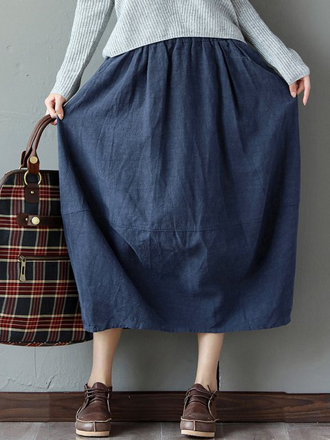 Dark Blue Casual Pockets Solid Skirt