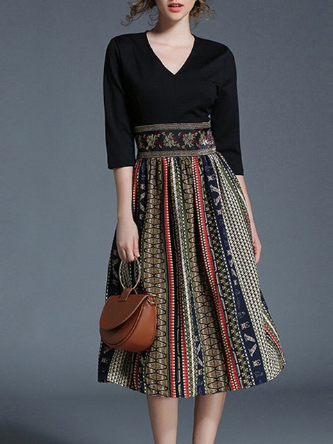 V neck Green A-line Women Daily Cotton 3/4 Sleeve Paneled Tribal Elegant Dress