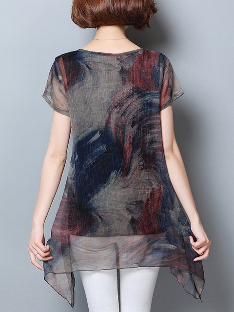 Printed Asymmetrical Sleeve T Shirt Abstract Short Casual TqS8tw04xn