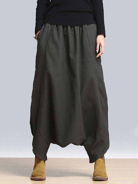 Black H-line Casual Pockets Harem Plus Size Pants