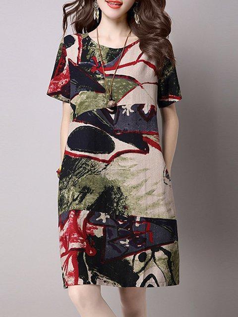 Green A-line Women Daily Casual Short Sleeve Linen Casual Dress