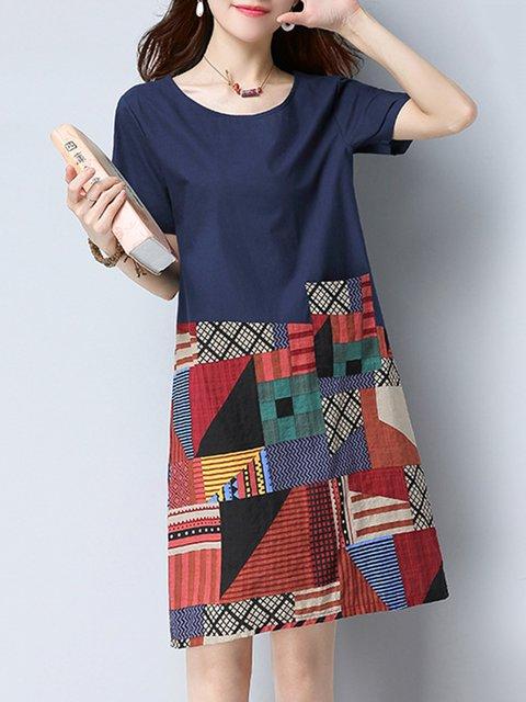 Navy Blue A-line Women Daily Short Sleeve Casual Linen Paneled Patchwork Casual Dress
