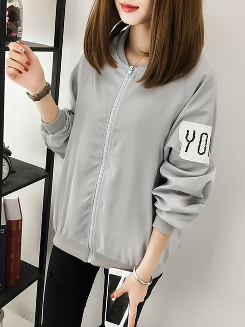 Collar Zipper Stand Jacket Printed Shift Pockets 5xCRnW