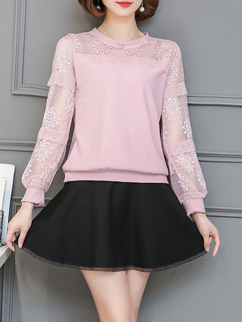 Pink Jacquard See-through Look Casual Blouse