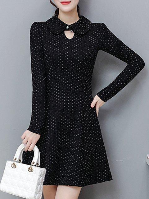 Black  Women Cotton Elegant Long Sleeve   Elegant Dress