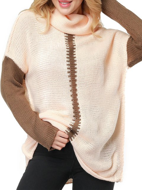 Batwing Knitted Color-block Sweater