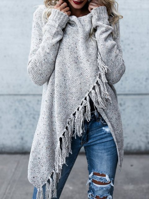 H-line Long Sleeve Plain Knitted Fringed Cardigan