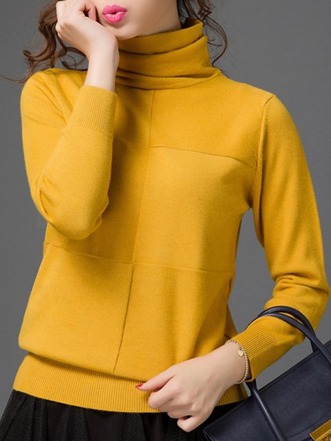 Solid Casual Cowl Neck Sweater