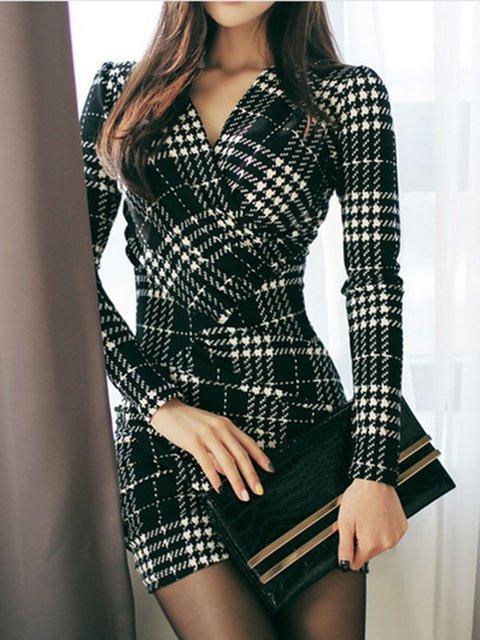Surplice Neck  Women Club Long Sleeve Elegant Houndstooth Elegant Dress