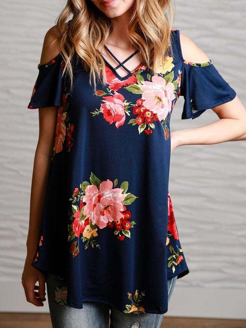 Navy Blue V-Neck Floral-print Casual Cold Shoulder T-Shirt