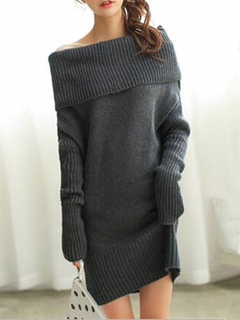 Off Shoulder Deep gray Shift Women Casual Long Sleeve Knitted Casual Dress