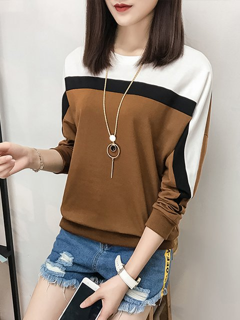 Casual Color-block Long Sleeve Crew Neck  T-Shirt