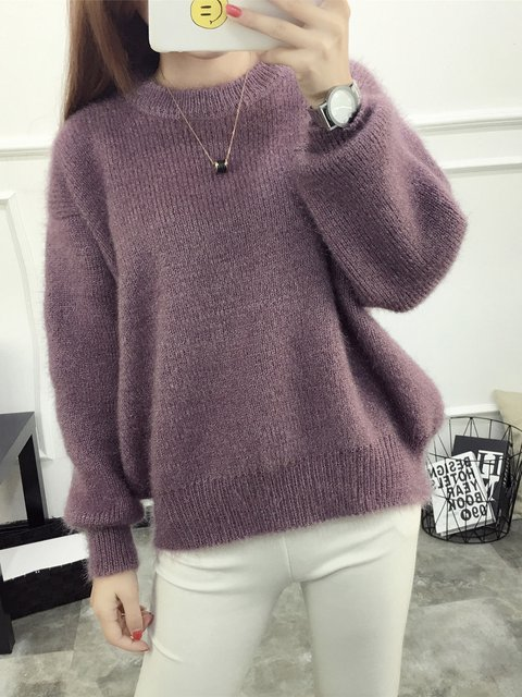 Casual Long Sleeve Knitted Crew Neck Sweater