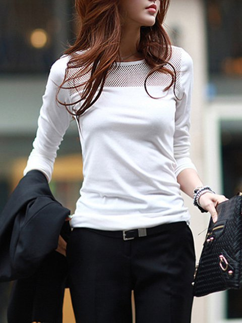Mesh Paneled Crew Neck Sheath Long Sleeve T-Shirt