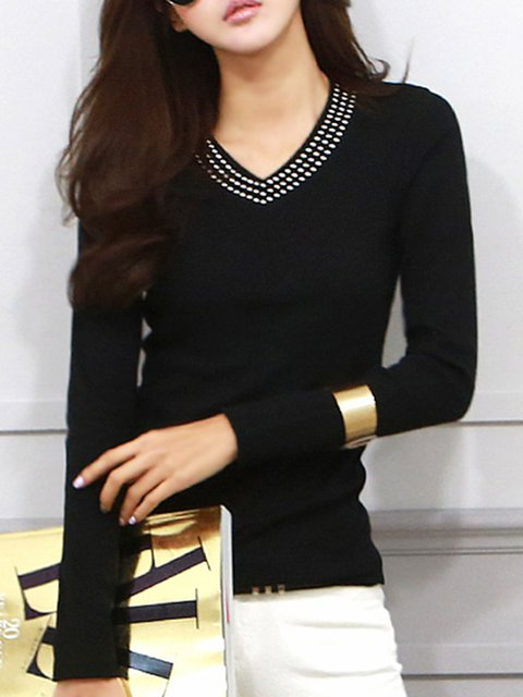 Long Sleeve Embellished Sheath Casual T-Shirt