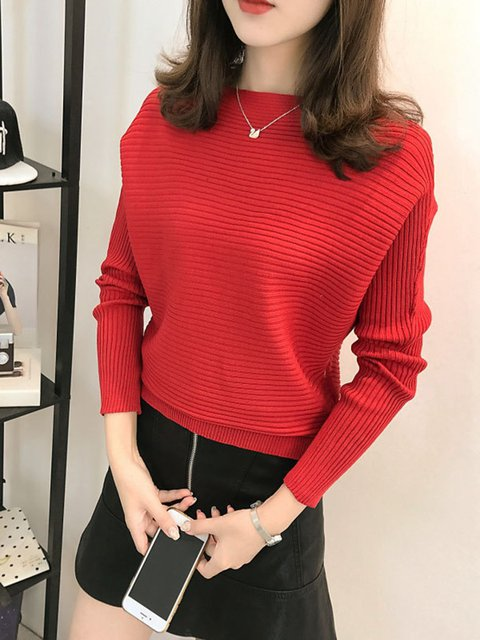 Knitted Casual Solid Bateau/boat Neck Sweater