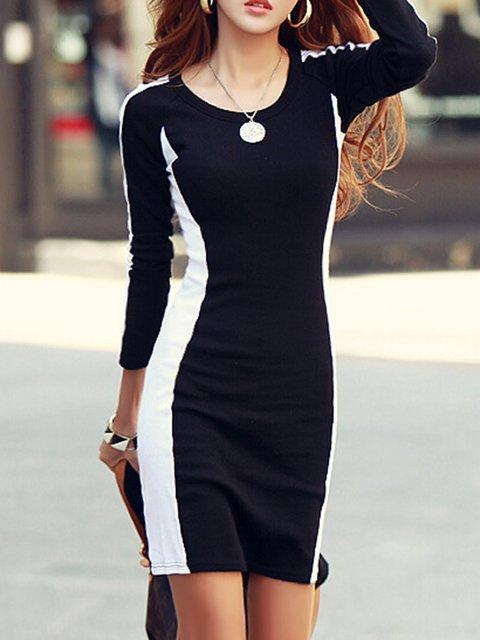 Black Women Cotton Long Sleeve Color-block Plain Elegant Dress