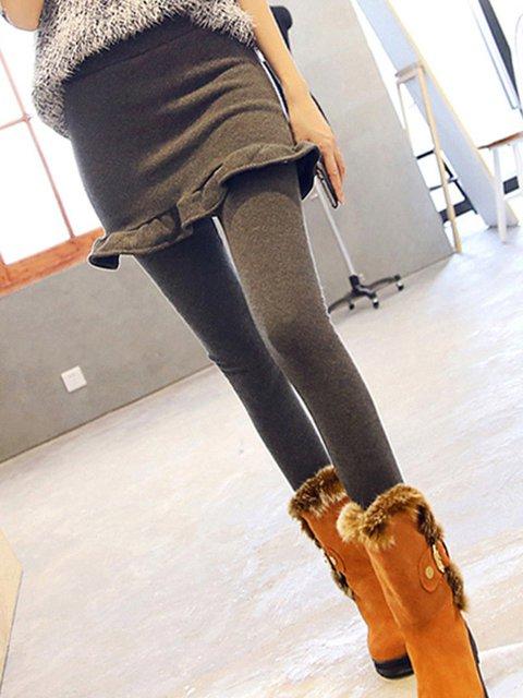 Paneled Casual Solid Ruffled Leggings