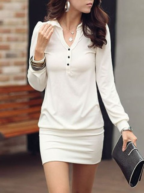 Shirt Collar  Bodycon Women Daily Casual Long Sleeve Buttoned Plain Casual Dress