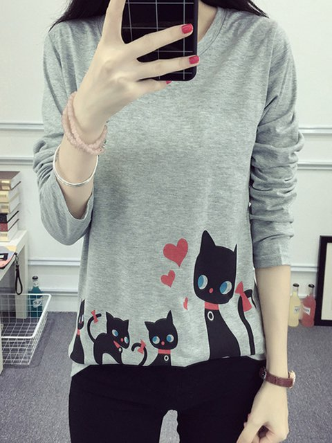 Cat Printed H-line Long Sleeve T-Shirt
