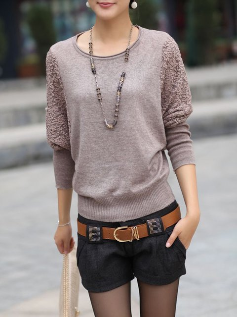 Sheath Casual Knitted Balloon Sleeve Sweater