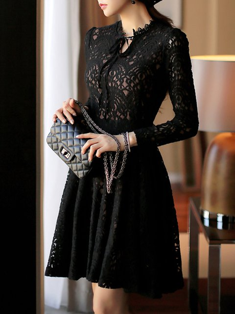 ebe889d358c Keyhole Black A-line Women Prom Sexy Lace Guipure lace Floral Elegant Dress