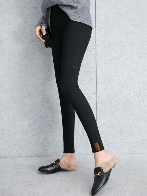 Black Casual Fleece-lined Plain  Leggings