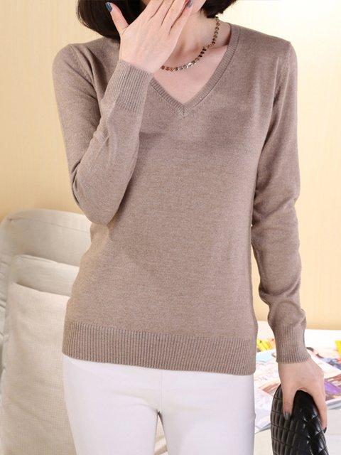 Knitted V Neck Long Sleeve Sweater