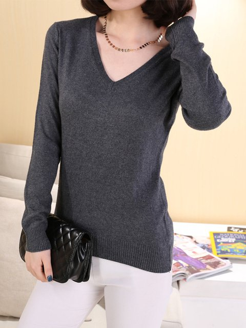 Solid Knitted Basic Long Sleeve V Neck Sweater