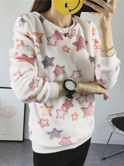 Star Coral Fleece Long Sleeve Crew Neck Sweatshirt
