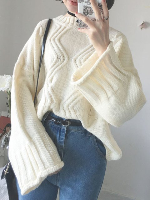 Casual Crew Neck H-line Cable Bell Sleeve Sweater