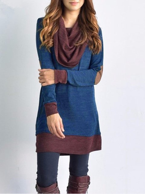Cowl Neck  Shift Women Daytime Long Sleeve Casual Paneled  Casual Dress