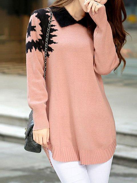 Casual Knitted Collar Shirt Womens Sweater tUzRnxwq
