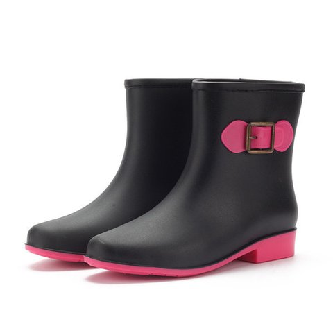 Waterproof Slip On Ankle Rain Bowknot Color Match Boots