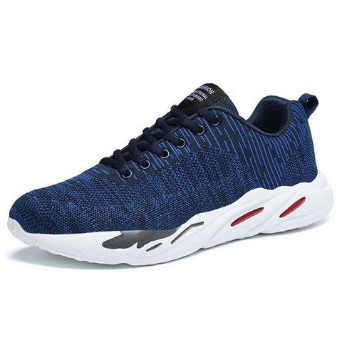 Men Knitted Fabric Light Weight Gym Sport Running Shoes