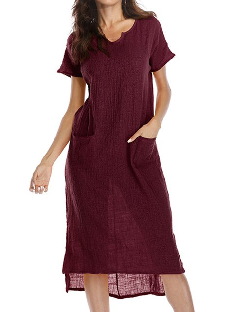 Solid Casual Short Pockets Women Sleeve Daily Summer V Shift Dress neck pq6F8