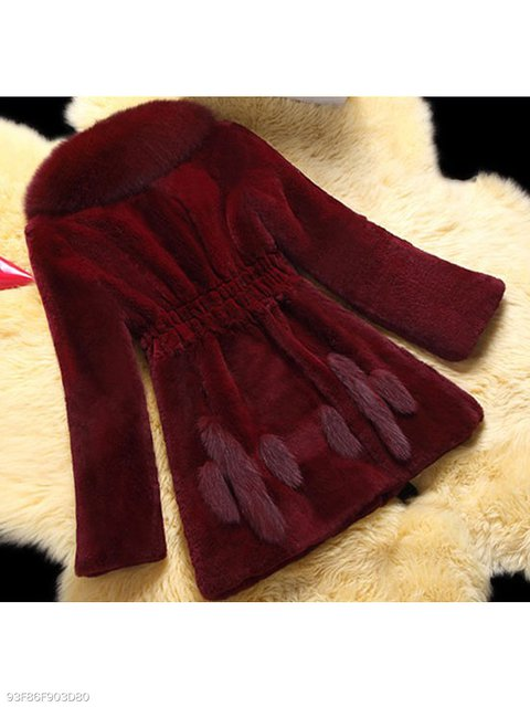 Coat Lapel Plain Elastic Fur Waist Fluffy Faux dr1YBWrcv