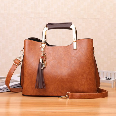 Vintage Women PU Leather Tote Crossbody Bag