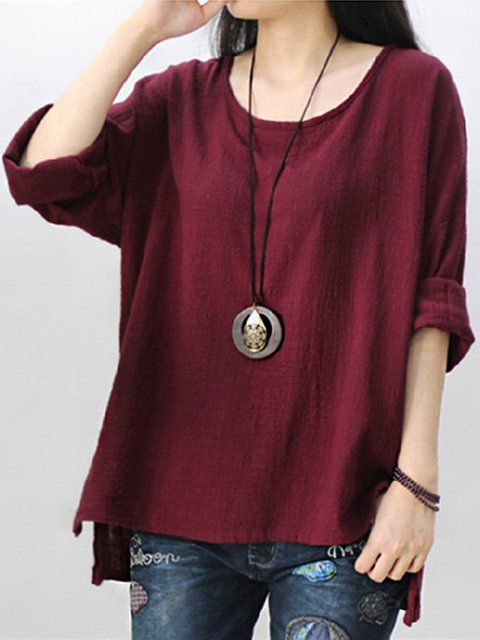 Casual Solid Long Sleeve High Low Blouse