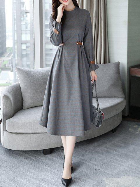 Gray Swing Women Daytime Long Sleeve Cotton Pockets Checkered/Plaid Elegant Dress