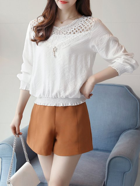 Crochet-trimmed Chiffon Long Sleeve Casual Blouse