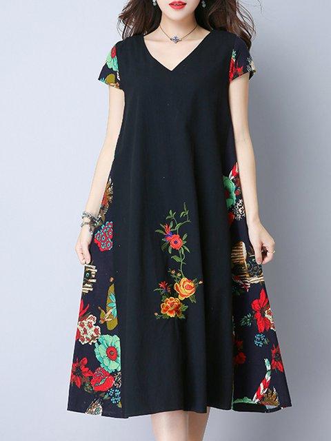 Navy Blue A-line Women  Vintage Short Sleeve Cotton Floral-print Casual Dress