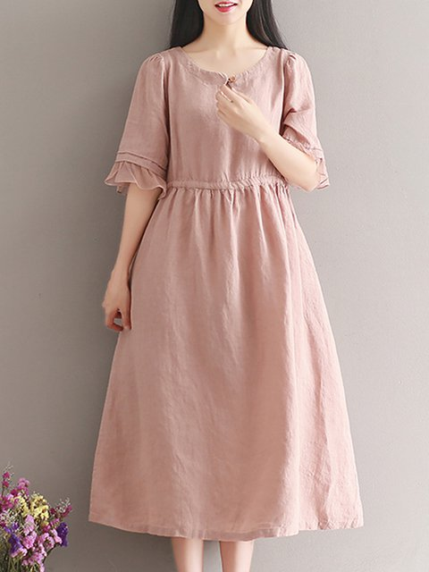 Keyhole Pink A-line Women Daily Cotton Casual Frill Sleeve Buttoned Patchwork Casual Dress