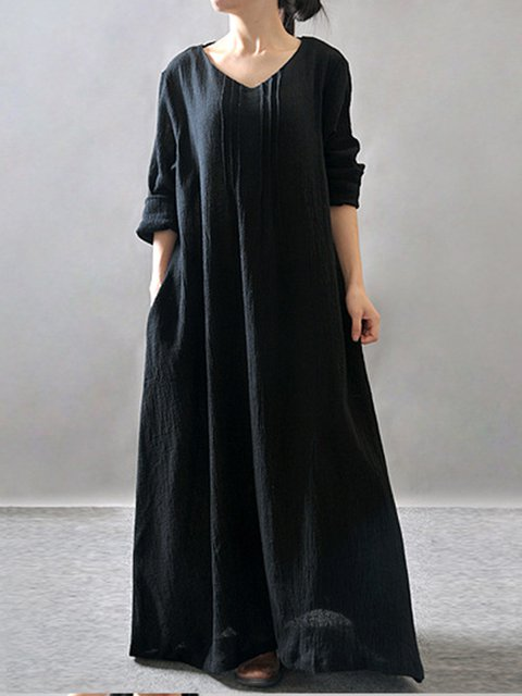 V neck Black Cocoon Women Going out 3/4 Sleeve Cotton Casual  Casual Dress