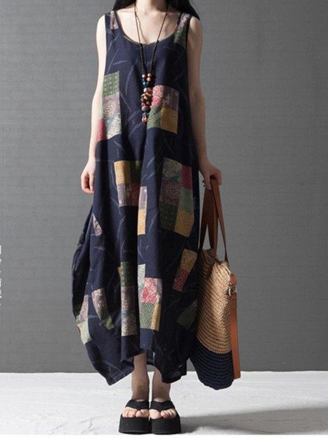 Dark blue Cocoon Women Daily Sleeveless Linen Checkered/Plaid Casual Dress
