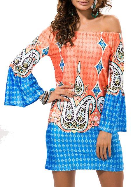 Orange Bell Sleeve Tribal Sheath Boho Dress