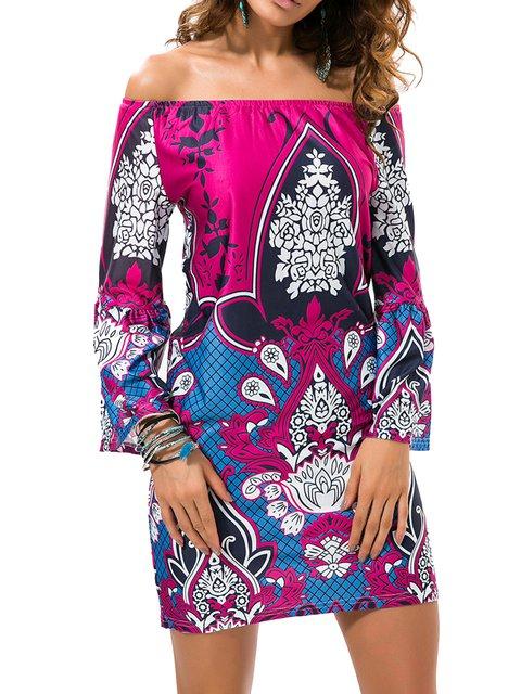 Multicolor Tribal Bell Sleeve Printed Sheath Boho Dress