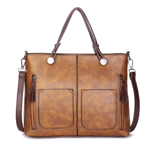 Women Retro PU Leather Fashion Designed Tote Crossbody Bag