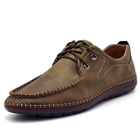 Men Leather Hand Stitching Lace Up Casual Shoes