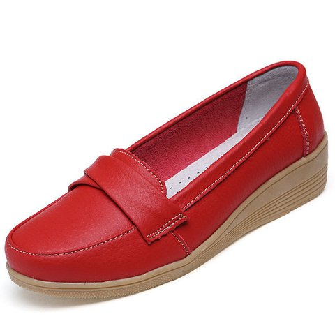 Solid Buckle Leather Wedge Heel Loafers